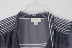 Ann Taylor Loft L size Blouse Sheer Blue White Tie Neck Career Casual Pussy Bow