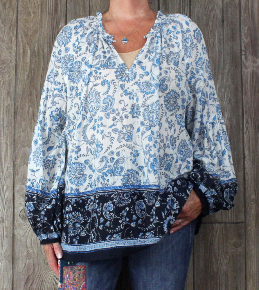 New Loft Blouse XXL 2xl size Blue Floral Womens Light Poet Sleeve Top
