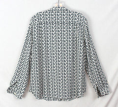 Cute Ann Taylor Loft L size Blouse Green Off White Rabbits