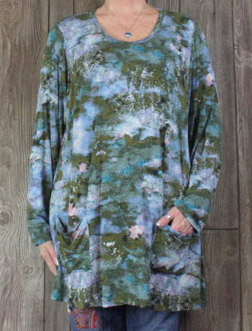 Pretty Logo Lori Goldstein 2x sz Tunic Top Green Blue Floral Womens Blouse Plus Pockets
