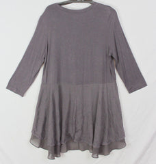 LOGO Lori Goldstein L size Blouse Taupe Brown Lace Layed Tunic Top