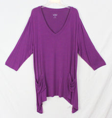 LOGO Lori Goldstein 2x size Purple Tunic Top Womens Soft Stretch Blouse Plus