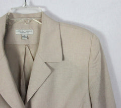 Lord & Taylor Blazer Jacket 16 size Beige Lined Womens Flattering Work Casual