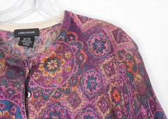 Nice Lord & Taylor Cardigan Sweater Purple Floral L size Womens