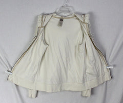 Cute Lucky Brand Hoodie Jacket L size Ivory Embroidered Floral Zip Front