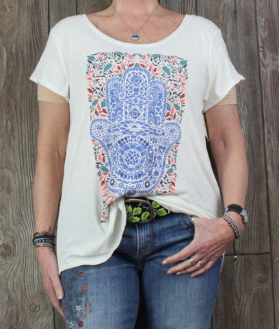 New Lucky Brand XXL 2xl size Blouse Ivory Multi Color Lightweight Tee Shirt