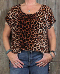 Lucky Brand 2x size Blouse Black Brown Soft Leopard Animal Print Top Plus Shirt