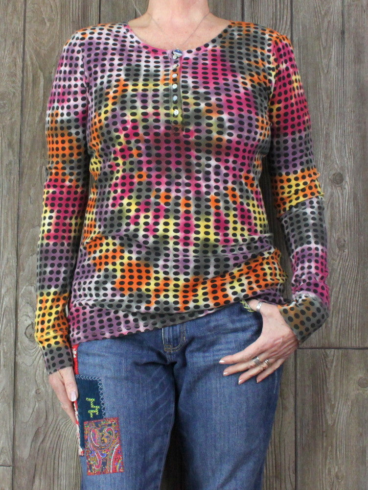 Cute Lucky Brand L size Tye Dye Dot Henley Top Womens Multi Color Black