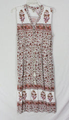 Cute Lucky Brand Dress L size White Purple Multi Color Floral Stretch & Pockets