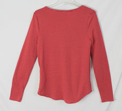 Lucky Brand top L size Red Pink Stripe Thermal? Womens Shirt Cotton Blend - Jamies Closet - 6