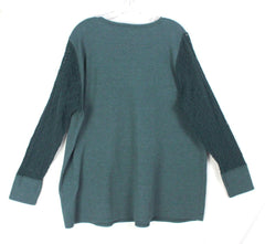Lucky Brand Blouse 3x size Green Thermal Crochet Sleeve Womens Top