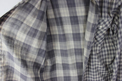 Lucky Brand L size Mens Shirt Gray Check Cotton Career Casual Lightweight Comfy - Jamies Closet - 2