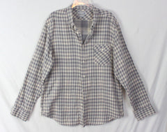 Lucky Brand L size Mens Shirt Gray Check Cotton Career Casual Lightweight Comfy - Jamies Closet - 3
