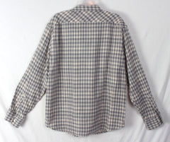 Lucky Brand L size Mens Shirt Gray Check Cotton Career Casual Lightweight Comfy