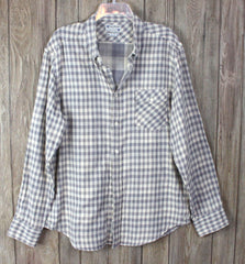 Lucky Brand L size Mens Shirt Gray Check Cotton Career Casual Lightweight Comfy - Jamies Closet - 1