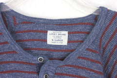 Lucky Brand Henley XL size Shirt Mens Gray Wine Stripe Stretch Casual Weekend