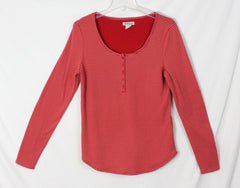 Lucky Brand top L size Red Pink Stripe Thermal? Womens Shirt Cotton Blend - Jamies Closet - 3