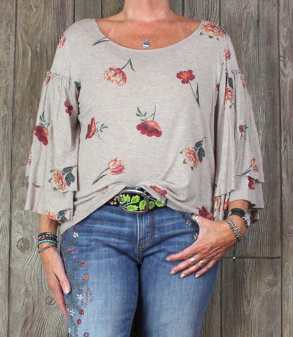 Cute Lucky Brand Blouse L size Beige Gold Metallic Fleck Floral Boho Top