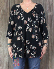 Cute Soft New Lucky Brand Blouse 2x size Black Pink Floral