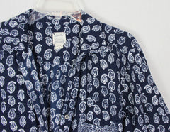 Lucky Brand Blouse L XL size Blue White Paisley Flannel Top