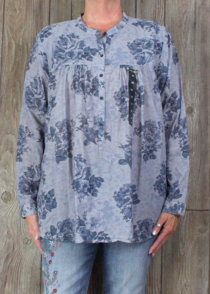 New Lucky Brand Blouse 2x size Blue Floral Top Womens Lightweight Cotton