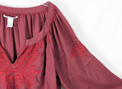 Lucky Brand Peasant Blouse M size Burgundy Wine Embroidered Rayon Top - Jamies Closet - 5