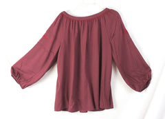 Lucky Brand Peasant Blouse M size Burgundy Wine Embroidered Rayon Top - Jamies Closet - 6