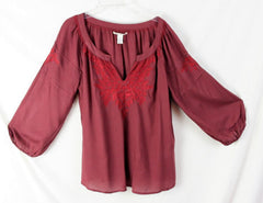 Lucky Brand Peasant Blouse M size Burgundy Wine Embroidered Rayon Top - Jamies Closet - 3