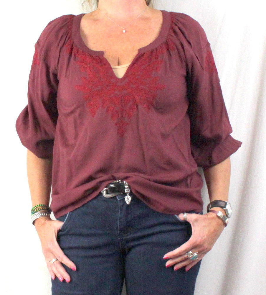 Lucky Brand Peasant Blouse M size Burgundy Wine Embroidered Rayon Top - Jamies Closet - 1