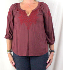 Lucky Brand Peasant Blouse M size Burgundy Wine Embroidered Rayon Top - Jamies Closet - 2