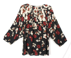 Cute Lucky Brand XL size Blouse Rust Beige Black Floral Rayon