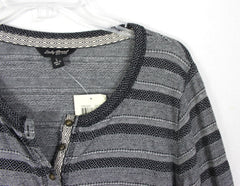 New Lucky Brand L size Henley Gray Striped Casual Womens Top