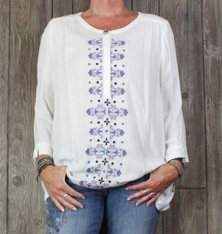 New Lucky Brand Blouse XL size Ivory Purple Blue Embroidered Tunic Top