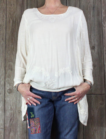 Nice Lucky Brand Ivory Embroidered Tunic Top 3x size Womens Lightwieght Plus