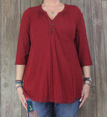 Lucky Brand XL 1x size Blouse Burgundy Rust Red Stretch Casual Top