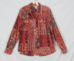 Cute Lucky Brand XL size Blouse Rust Blue Floral Womens Lightweight Cotton