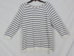 Cute Lucky Brand XL size Top White Blue Soft Casual Blouse Womens Beach Cotton Shirt