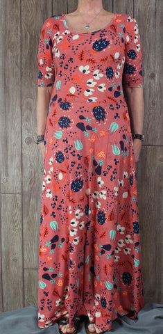 Cute Lularoe Maxi Dress XL size Teal Blue Orange Floral