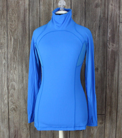 Lululemon Size 6 Speedy Run Long Sleeve Turtleneck Beaming Blue Laceoflage