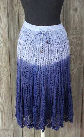 Cute Bohemian Cafe Skirt S size Blue Ombre Crochet Casual Boho Hippy Festival Wear