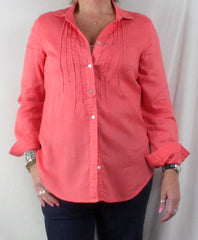 Malvin Linen Blouse M size Pink Embroidered Long Sleeve Womens Top - Jamies Closet - 1