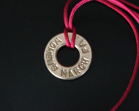 Hand Stamped Womens March Bronze Necklace Pink Cord