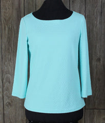 New J Mclaughlin M size Robbins Egg Blue Honeycomb Jacquard Top