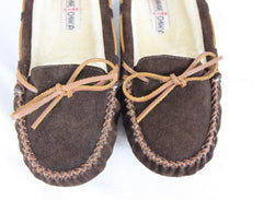 Minnetonka Suede Leather Mocs size 10 Brown Faux Fur Lined Womens Comfort Shoes - Jamies Closet - 2