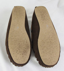 Minnetonka Suede Leather Mocs size 10 Brown Faux Fur Lined Womens Comfort Shoes - Jamies Closet - 6