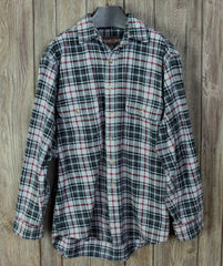 Great Outdoor Moose Creek M size Mens Heavy Cotton Shirt Black Gray Plaid - Jamies Closet - 1