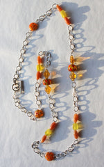 New Pretty Hand Made In the USA Sterling Silver Chain & Murano Glass Bead Long Necklace Oranges Ambers Green - Jamies Closet - 6
