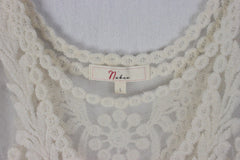 New Nambee Ivory Lace Tank Top L size Embroidered Floral Romantic