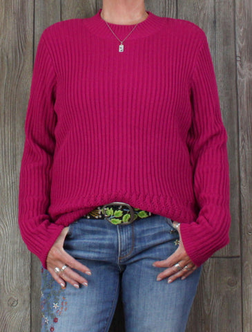 Nice New Napa Valley Sweater XL size Cherry Wine Pink Womens Stretch Work Casual