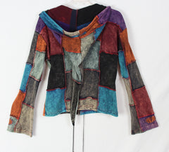 Cute Hooded Zip Jacket L size Fun Patchwork Tye dye Nepal Womens Multi Color Cotton